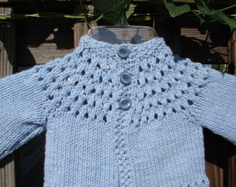 Hand Knit Baby Sweater Blue