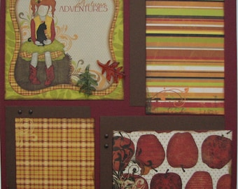 Autumn Adventures...family...girl...Fall...TWO completed 12x12 Premade Scrapbook pages