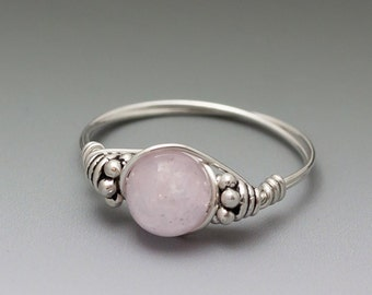 Pink Kunzite Bali Sterling Silver Wire Wrapped Bead Ring - Made to Order, Ships Fast!