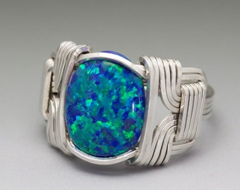 Dark Blue Fire Man-Made Opal Cabochon Sterling Silver Wire Wrapped Ring - Made to Order and Ships Fast!