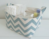 Free Shipping .... Ready to Ship ... Diaper Caddy Village Blue Natural Chevron Organizer Bin Basket ... with Dividers