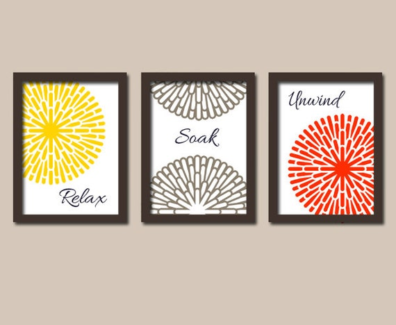 Yellow red brown bathroom wall art canvas or prints by for Red bathroom wall decor