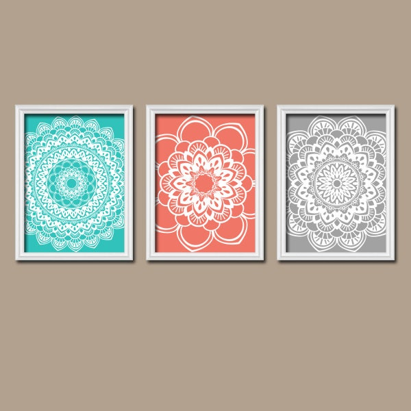 wonderful turquoise gray bathroom ideas | Turquoise Coral Gray Wall Art CANVAS or Prints Flower by ...