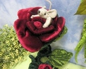 Soft Sculpture Mouse in a Rose Pincushion