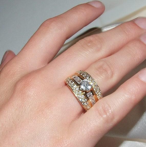Vintage Pave Diamond Ring Heart Cut Channel Princess Cut