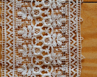 "Antique Vtg Old Beautiful Lace Trim Very Intricate 45"" long 3 3/8"" wide"