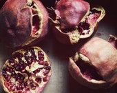 """Still life photography - pomegranate art - gray garnet red - rustic food print - red photography -  mauve dusty rose pink """"Faded Fruit"""""""