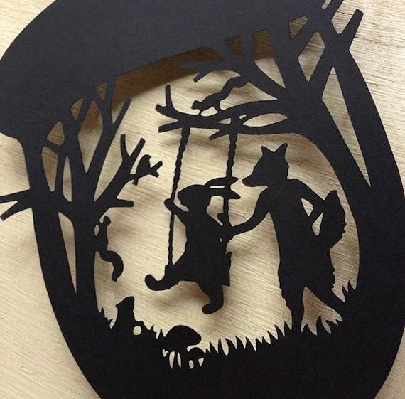 Besties Art Fox And Rabbit Silhouette Scherenschnitte Paper Cutting Original Enchanted Forest Woodland Creatures Animals Birds Acorns