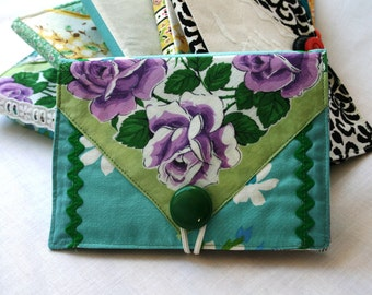 Photo Album Brag Book Vintage Fabric Hankerchief Button Green Aqua Lavender Romantic Valentines Day