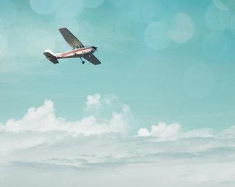 Airplane Photograph, Aviation Print, Gift for Pilot, Plane Photo Wall Art, Nursery Decor, Transportation, Flying, Flight, Soar - Dream Big