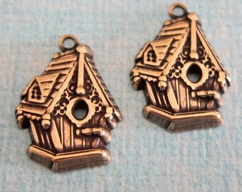 2 Brass Birdhouse Charms 1457G