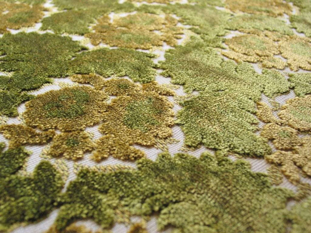 Vintage Cut Velvet Upholstery Fabric Green Floral Leaf