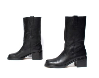 size 7.5 PLATFORM black leather 80s 90s ENGINEER pull on ankle boots