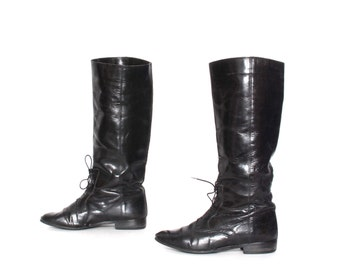size 8 EQUESTRIAN black leather 80s 90s TALL lace up boots made in ITALY
