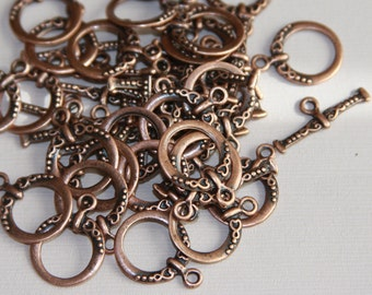 50 sets of Antiqued Copper fancy toggle clasps 18x15mm
