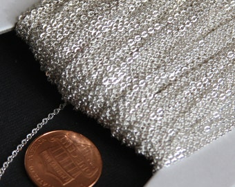 100ft of Silver Plated very Flat Soldered Cable Chain 1.5mm, silve bulk chain