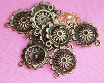 100 pcs of antique Brass  flower connector 21x3mm