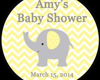 "30 Personalized Round Stickers - Elephant -1.5"" Inches"
