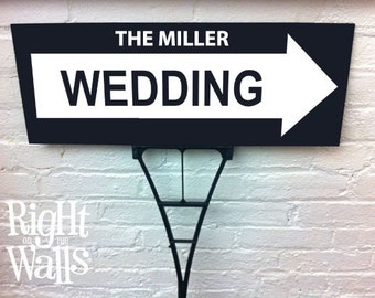 Wedding Sign, Custom Sign, Arrow Personalized Directional Yard Sign Outdoor Wedding Signage with Ground Stake