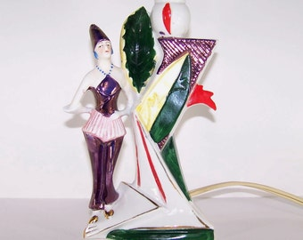 Vintage Art Deco Carnival Girl Boudoir Lamp