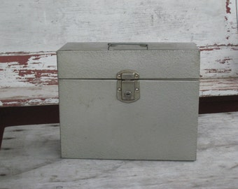 Vintage Excelsior Metal Filing Box in Gray Green Made in USA Ca. 1960 (4130-W)