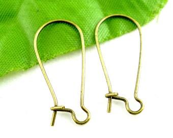 Long Kidney Ear Wires, Antiqued Brass, 24mm, 20 Pieces, 8S-EAKWAB-10L-001