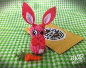 Pink RAWR Sock Bunny with Adoption Kit and DIY Carrot Sewing Tutorial