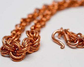 Graduated spirals in copper - chainmaille spiral weave necklace in solid copper