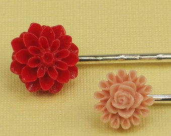 Pair of Vintage Red and Pink Hairpins