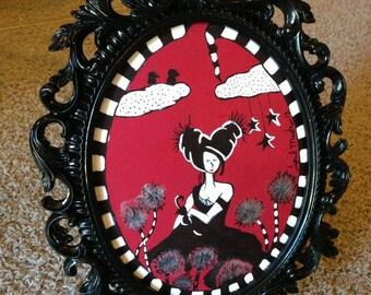 Unique Red and Black Portrait Original Art Illustration in a  Swirly Ornate Frame