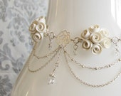 CLEARANCE! - White Roses Bridal Choker Necklace - Polymer Clay & Sterling Silver
