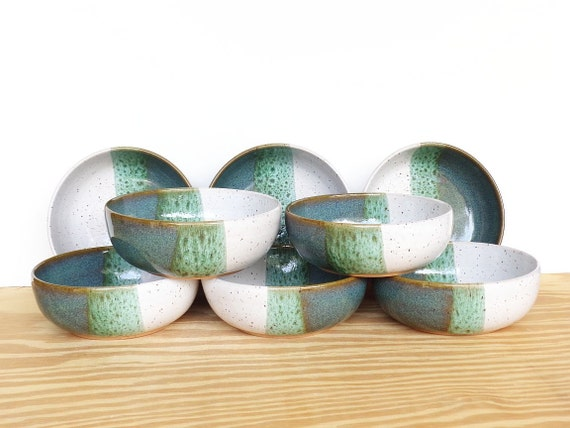 Reserved for Mandy - Sea Mist and White Ceramic Soup Bowls - Set of 8