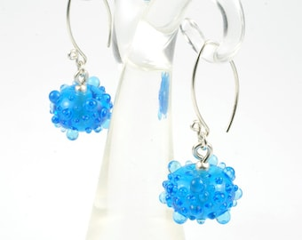 seranilla earrings - deliciously bumpy blue artisan lampwork glass and sterling silver