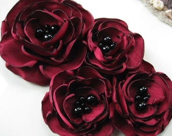 fabric flower brooch -  four bloom  corsage pin in deep red with black onyx beading - Made to Order