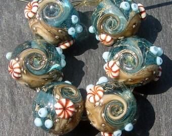 Lampwork Glass Beads 012 Rounds (6) Ocean Waters