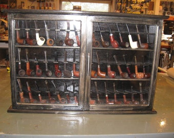 Pipe rack cabinet 42 Pipe Rack Display Cabinet,Churchwarden,Item  190EF