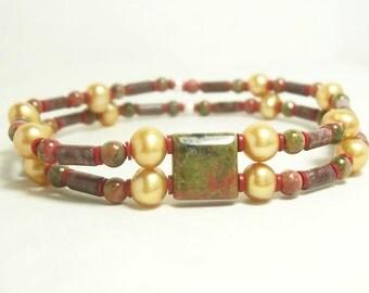 Golden Pathway Bracelet - Green, Pink, Brown and Red Elastic Bracelet - Sterling Silver