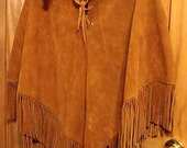 Vintage All Leather Fringe Poncho, Hencho En Mexico Condition Casa Larrea