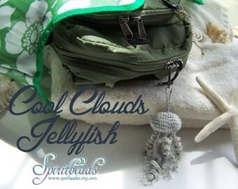 Cool Clouds Crochet Plush Jellyfish Keychain Zipper Pull Purse hook