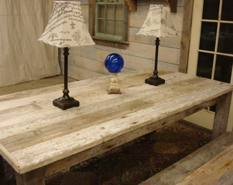 """Driftwood Dining Set: Table (72""""L x 35""""W x 30""""h) 2 Benches (60"""" x 15"""" x 17""""h)"""