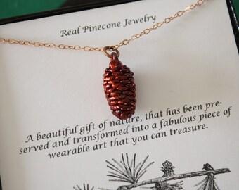 Copper Pinecone Necklace, Copper, Real PineCones, Copper Pine Cones, Christmas Card, PC1