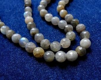 6mm Faceted Round Natural Labradorite Gemstone Beads - Half Strand