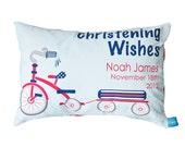 Boys Tricycle Christening Decorative Cushion