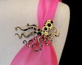 "An Octopus Love Affair Brooch - Large 4"" Ink Splatter Octopus Brooch  (C.A.B. Fayre Original Design)"