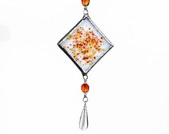 Orange Fused Glass Suncatcher Light Catcher Small Hot