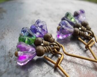 Purple Green Flower Earrings long dangle earrings for women handmade jewelry fairy faerie purple flower drop earrings antiqued brass bronze