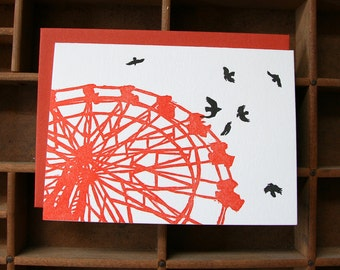 letterpress ferris wheel & blackbirds card