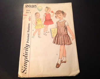 Vintage Simplicity #2635 Pattern for Girls' Size 4 Dress, Jumper, and Blouse