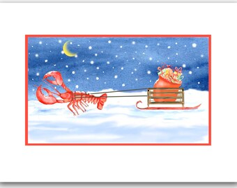Lobster Christmas cards. set of 10. lobster pulling sled,  lobster lovers card, nautical, coastal Christmas card.red  lobster pulling sled,