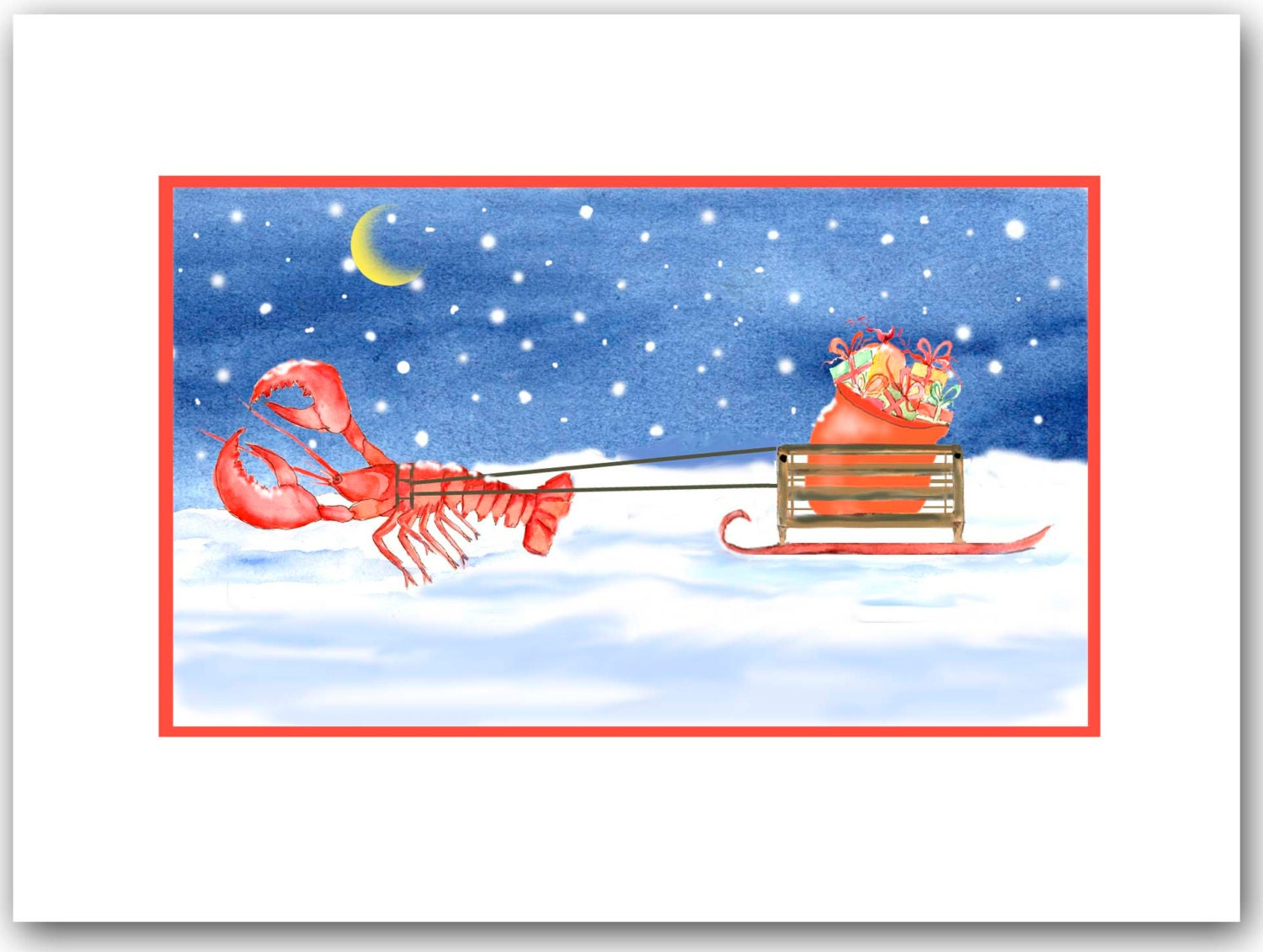 Lobster Christmas cards. set of 10. lobster pulling sled